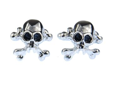 Skull Cuff Links Cufflinks Miniblings Buttons + Box Skull Halloween Silver – Bild 1