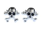 Skull Cuff Links Cufflinks Miniblings Buttons + Box Skull Halloween Silver