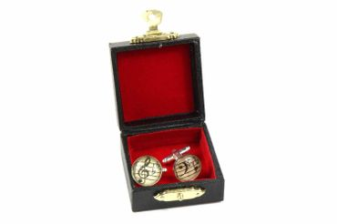 Notes And Clef Cabochon Cuff Links Cufflinks Silver + Box Glass 16mm Music Musician – Bild 5