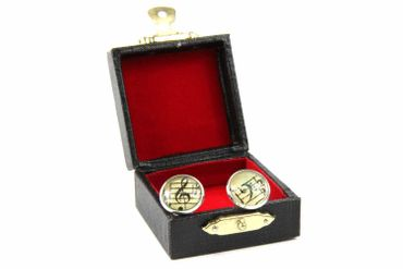 Notes And Clef Cabochon Cuff Links Cufflinks Silver + Box Glass 16mm Music Musician – Bild 7