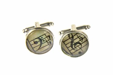 Notes And Clef Cabochon Cuff Links Cufflinks Silver + Box Glass 16mm Music Musician – Bild 1