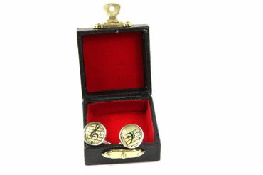 Notes And Clef Cabochon Cuff Links Cufflinks Silver + Box Glass 16mm Music Musician – Bild 3