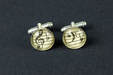 Notes And Clef Cabochon Cuff Links Cufflinks Silver + Box Glass 16mm Music Musician – Bild 4