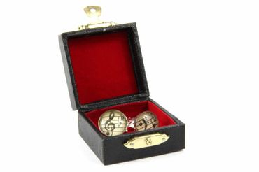 Notes And Clef Cabochon Cuff Links Cufflinks Silver + Box Glass 16mm Music Musician – Bild 6