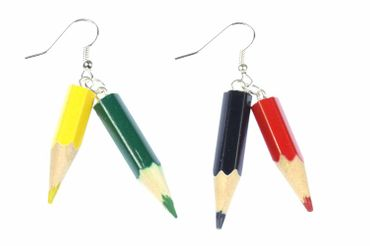 Crayons Earrings Coloured Pencil Painting School Miniblings Wood Upcycling Kids Children – Bild 1