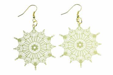 Eisblumen Ohrringe Schneeflocke Eisblume Weihnachten Xmas golden filigran 2 – Bild 1