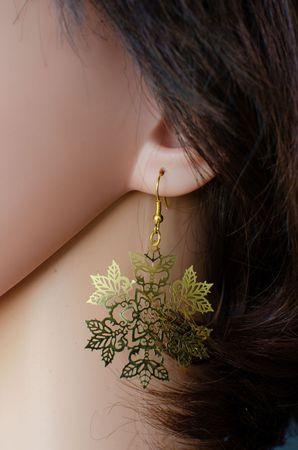 Eisblumen Ohrringe Schneeflocke Eisblume Weihnachten Xmas golden filigran 3 – Bild 4