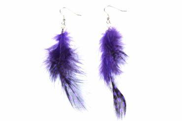 Feather Earrings Feathers Purple Hippie 8cm Dots Bird Purple Polka Dots