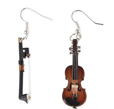 Violin Earrings With Bow Wood Miniblings Orchestra Music Instrument Musician Box – Bild 1