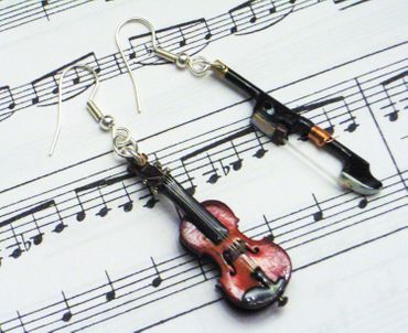 Violin Earrings With Bow Wood Miniblings Orchestra Music Instrument Musician Box – Bild 9