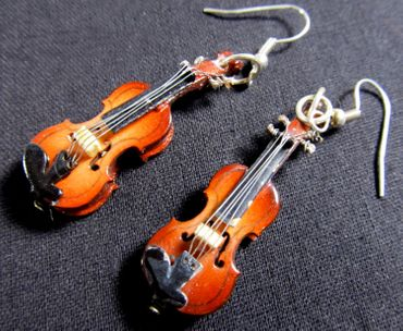 Violin Earrings 2 Violins Wood Miniblings Orchestral Violinist Music Instrument Musician + Box – Bild 2