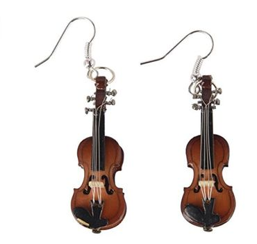 Violin Earrings 2 Violins Wood Miniblings Orchestral Violinist Music Instrument Musician + Box – Bild 1