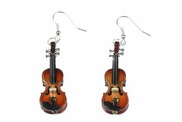 Violin Earrings 2 Violins Wood Miniblings Orchestral Violinist Music Instrument Musician + Box – Bild 5