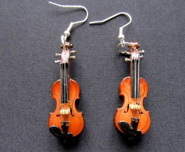 Violin Earrings 2 Violins Wood Miniblings Orchestral Violinist Music Instrument Musician + Box – Bild 7
