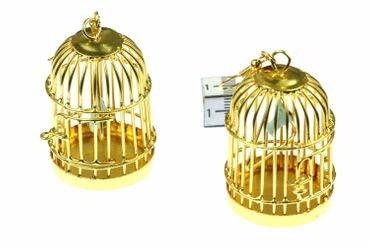 Cage Earrings Bird Cage Aviary Pet Animal 40mm Miniblings Golden XL – Bild 1