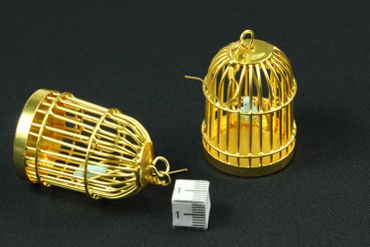 Cage Earrings Bird Cage Aviary Pet Animal 40mm Miniblings Golden XL – Bild 3
