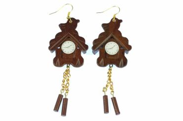Cuckoo Earrings Black Forrest Watch Watches Miniblings Wall Clock Wood Germany German Brown – Bild 5