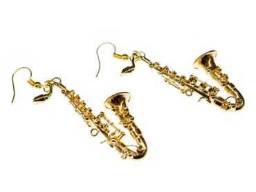 Saxophone Earrings Miniblings Jazz Sax Instruemnt Music Saxophonist Musician + Box – Bild 1