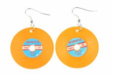 Schallplatten Ohrringe LP Vinyl DJ Musik Miniblings Plattenohrringe XL orange