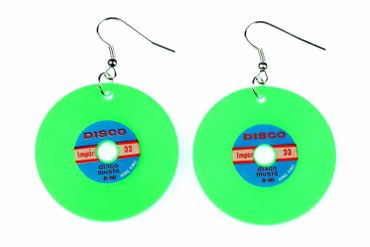 Records Earrings Lp Vinyl Dj Music Miniblings Record Earrings XL Neon Green