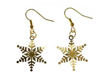 Schneeflockenohrringe Ohrringe Schneeflocke Weihnachten Xmas golden filigran