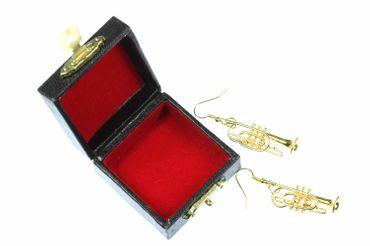 Gold Cornet Trumpet Earrings Trumpet Miniblings Brass Band + Box Trumpe Player – Bild 1