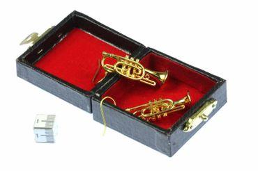 Gold Cornet Trumpet Earrings Trumpet Miniblings Brass Band + Box Trumpe Player – Bild 2