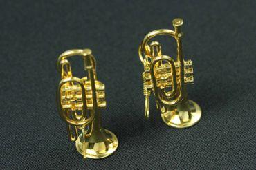 Gold Cornet Trumpet Earrings Trumpet Miniblings Brass Band + Box Trumpe Player – Bild 3
