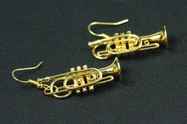 Gold Cornet Trumpet Earrings Trumpet Miniblings Brass Band + Box Trumpe Player – Bild 6