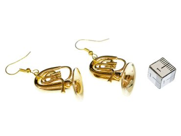 Tuba Tenor Horn Earrings Miniblings Orchestra Jazz Tubas Gold Plated With Box – Bild 1