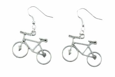 Bicycle Earrings Bike Bicycle Earrings Miniblings Cycling Silver Heart – Bild 1
