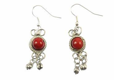 Hippie Boho Ohrringe Ohrhänger Ornament Miniblings rot silber Glöckchen