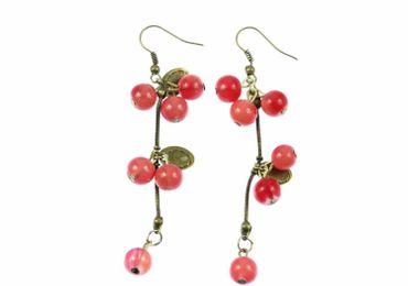 Johannisbeeren Beeren Ohrringe Traube mit Blättern Beere Miniblings rot Bronze – Bild 1