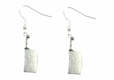 Knife Earrings Ax Miniblings Chef Cleaver Cook Kitchen Cleaver Silver – Bild 2