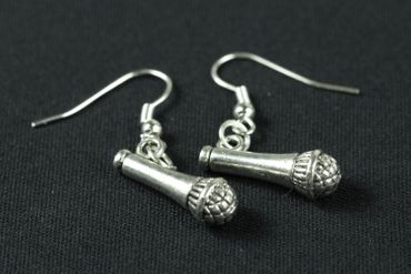 Microphone Earrings Miniblings Singer Music Sound Micro Silver – Bild 1