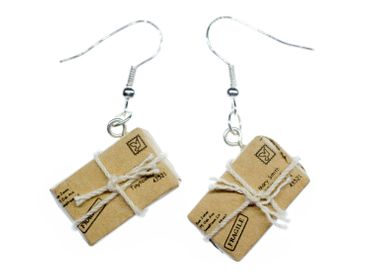 Package Earrings Parcel Post Letter Miniblings Message String Stamp – Bild 1