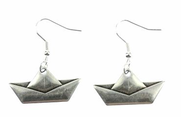 Paper Boat Earrings Ailboat Miniblings Ship Sailing Origami Silver – Bild 1