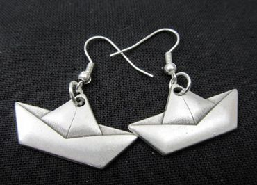 Paper Boat Earrings Ailboat Miniblings Ship Sailing Origami Silver – Bild 3