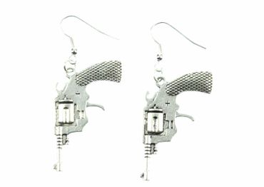 Pistol Revolver Earrings Miniblings Colt Cowboy Weapon XLwestern – Bild 2