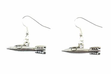 Spaceship Earrings Miniblings Space Shuttle All Space Space Silver – Bild 2
