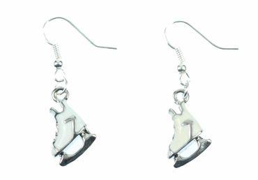 Schlittschuhe Ohrringe Miniblings Eiskunstlauf Eisprinzessin emailliert weiß – Bild 1