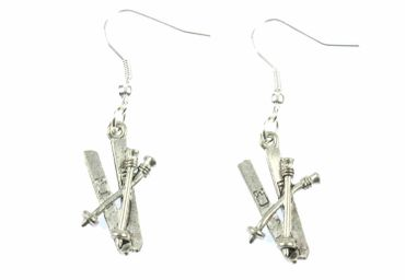 Ski Earrings Kis And Poles Miniblings Winter Earring Hobby Holidays Cold Snow Silver Plated  – Bild 2