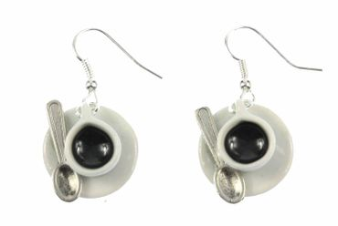 Cup Of Coffee With Spoon Earrings Coffee Cup Tea Pot Cafe Earrings Miniblings Porcelain Ceramic – Bild 1