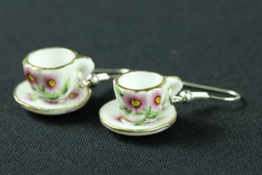 Mugs Earrings Teacup Coffee Cup Tea Pot Miniblings Gold-Rimmed Porcelain Ceramic – Bild 1