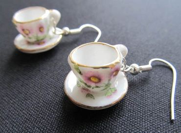 Mugs Earrings Teacup Coffee Cup Tea Pot Miniblings Gold-Rimmed Porcelain Ceramic – Bild 4