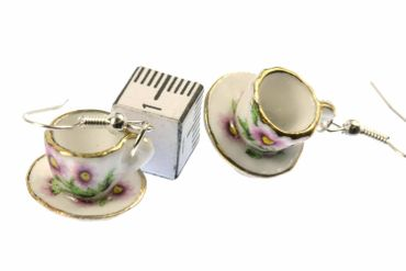 Mugs Earrings Teacup Coffee Cup Tea Pot Miniblings Gold-Rimmed Porcelain Ceramic – Bild 3