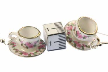 Tassen Ohrringe Teetasse Kaffeetasse Miniblings Ohrhänger Porzellan rosa – Bild 2