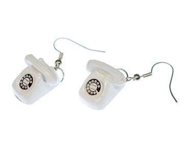 Telefon Ohrringe Telefonohrringe mit Wahlscheibe Hörer Miniblings Retro weiß