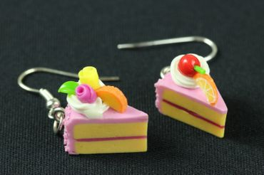 Slice Of Cake Earrings Cake Cake Piece Of Cake Miniblings Strawberry Pink – Bild 2