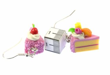 Slice Of Cake Earrings Cake Cake Piece Of Cake Miniblings Strawberry Pink – Bild 3